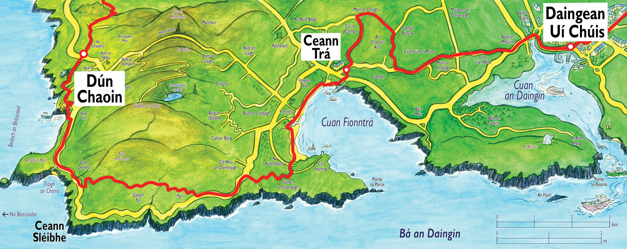 Dingle Bay Ireland Map.Dingle To Dunquin Section Of The Dingle Way Walking Trails In Ireland