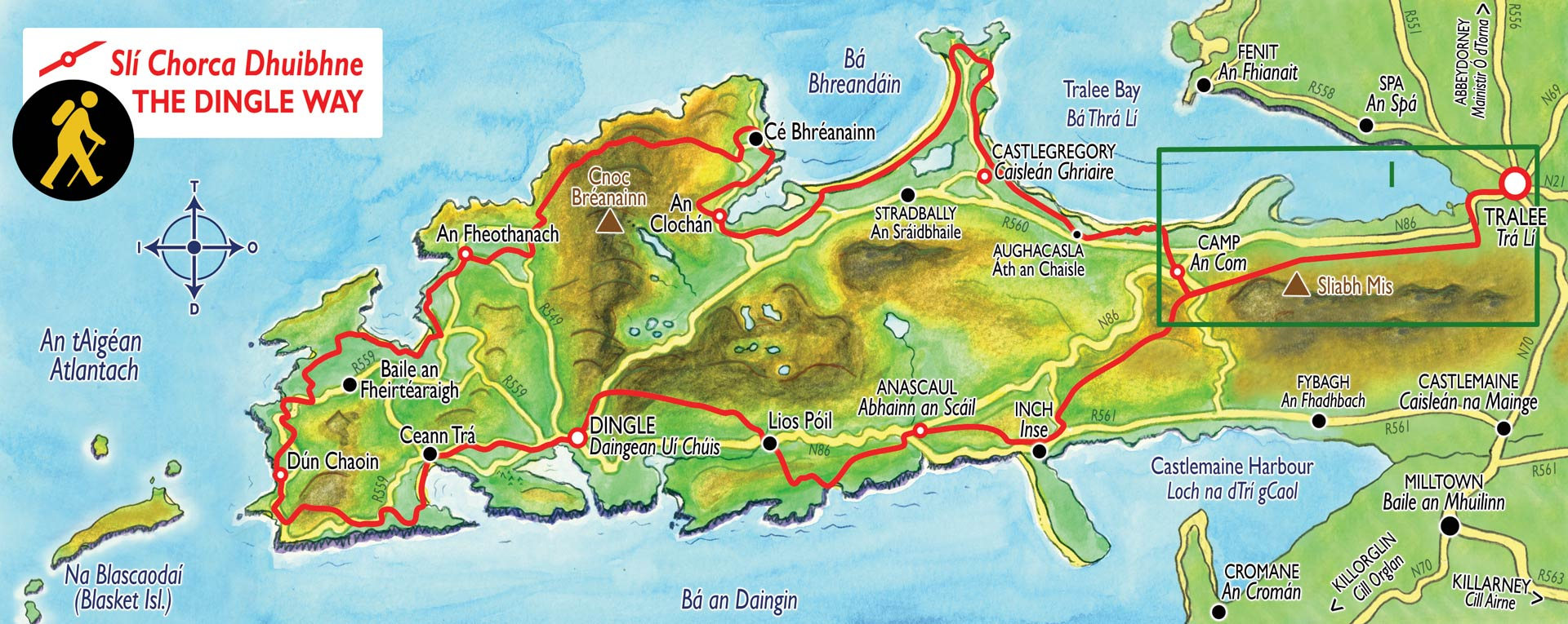 Map Of Ireland Showing Dingle.Tralee To Camp Section Of The Dingle Way Hiking Trail In Ireland