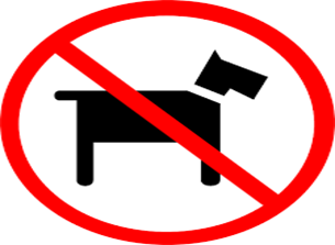 sign NO DOGS!